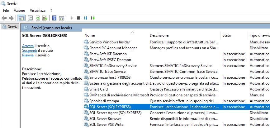 Avvia servizio SQL