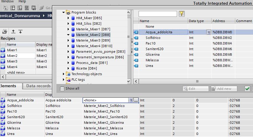 Screenshoot selezione Tag da DBmixer2 a ricetta